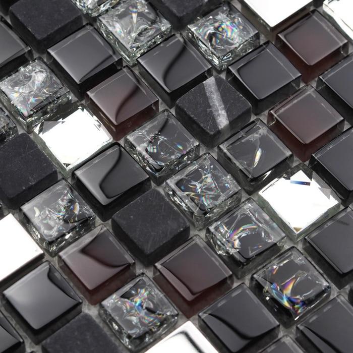 Glass Kitchen Backsplash Diy Pantry Cabinet Plans Black Stone Mixed Diamond Mosaic Tiles For ...