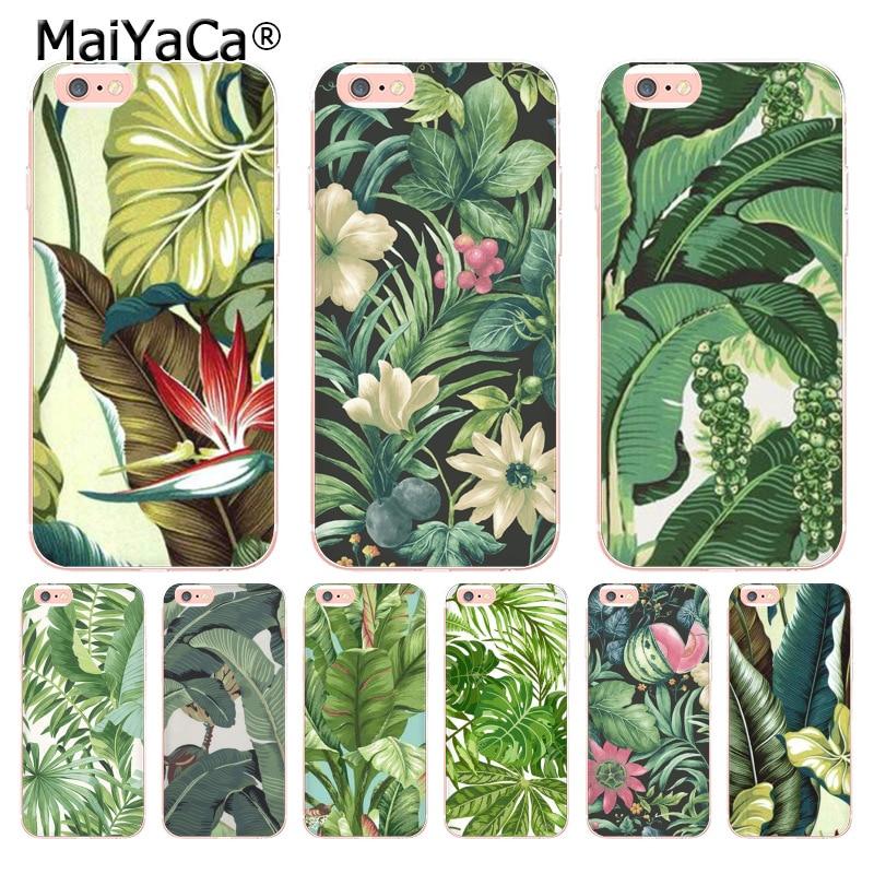 MaiYaCa зеленый завода банан оставьте дизайн моды кожа тонкий черный сотовый Чехол для Apple iPhone 8 7 6 6 S плюс X 5 5S SE 5C чехол