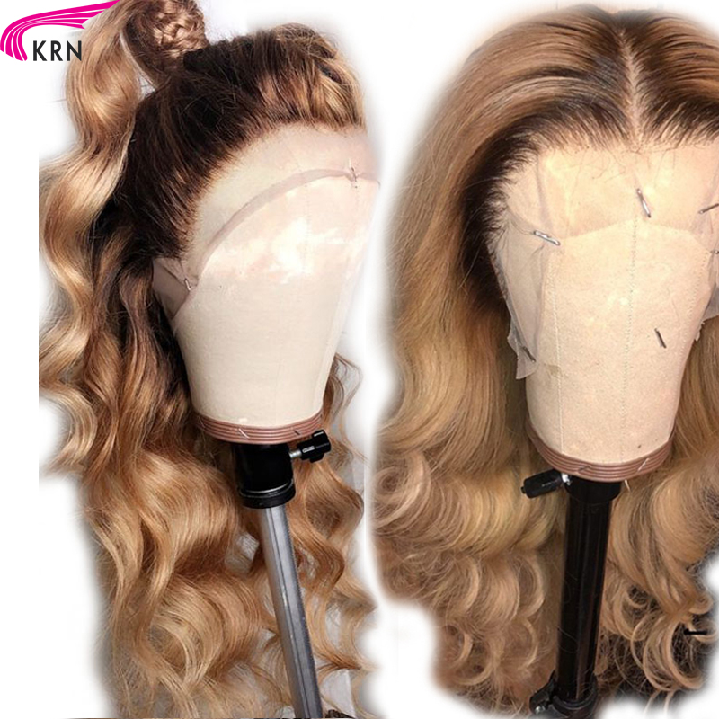 KRN 13X6 Deep Part #4/27 Lace Front Human Hair Wigs With Baby Hair Remy Ombre Loose Wave Brazilian Lace Front Wig Middle Part