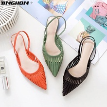 TINGHON Cuts-out Flat Sandals Women Sexy Pointed Toe Slingback Solid Summer Slipper