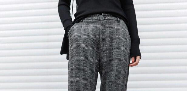 c870d6889 2018 Sale Zipper Fly Acrylic Polyester Flat Women Pants Lulu Leggings New  Winter Woolen Grid Women Trousers Sarouel Femme Check -in Pants   Capris  from ...