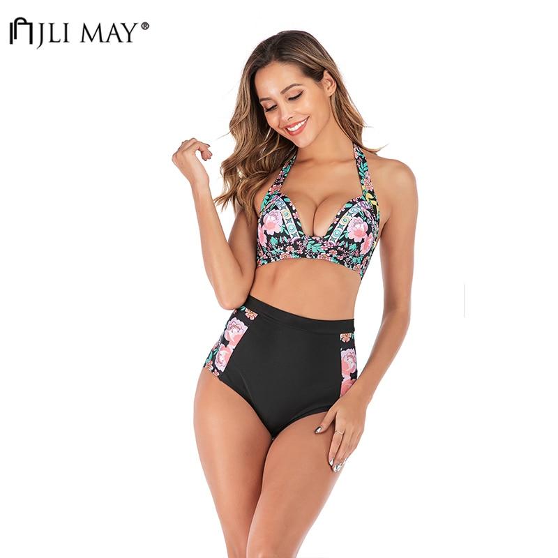 JLI MAY Floral Bikini Set Push Up Plus Size Sexy Summer Halter Swimwear High Waist Bathing Suits Mujer 2 Piece Swimsuit Women