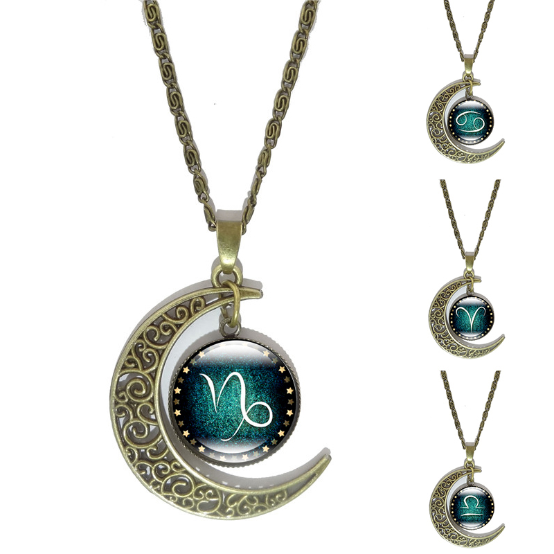12 Constellation Pendant Necklace Zodiac Glass Cabochon Jewelry Bronzo Crescent Moon Collane a catena per regalo di compleanno per donna