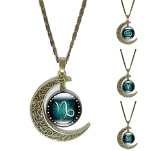 12 Constellation Pendant Necklace Zodiac Glass Cabochon Jewelry Bronze Crescent Moon Chain Necklaces for women birthday gift