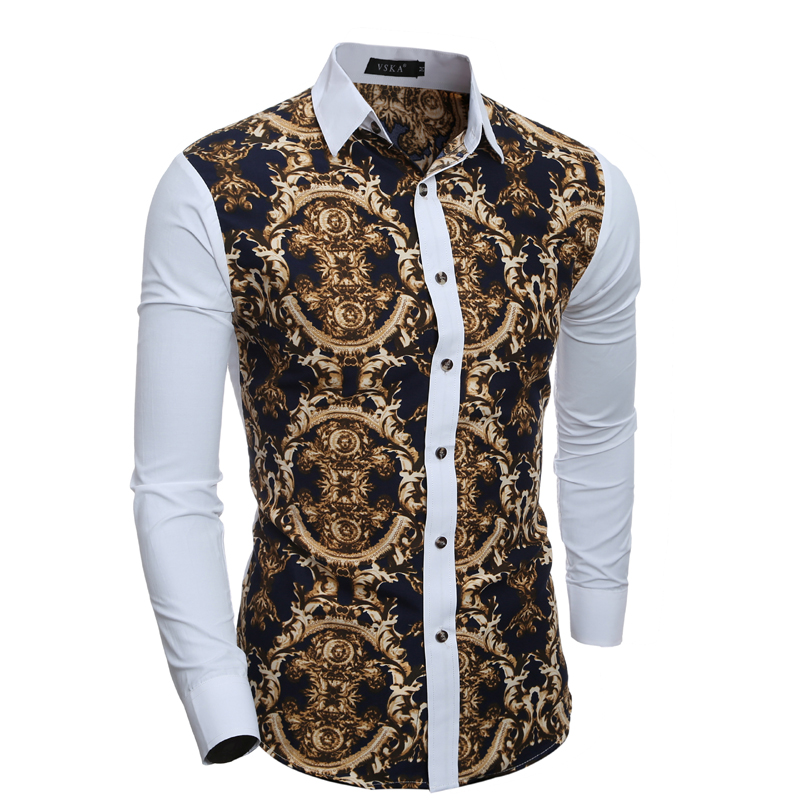 Fashion Brand Mens Shirts  Summer Vintage Slim Fit Floral Shirt Stitching Colors Shirt Long Sleeve Casual Shirts XH995139