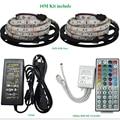 2*5M 10M RGB 5050 SMD Led DC12V 60LEDs/M LED Strip Light Outdoor Strips Lighting + 44 Keys IR Remote Controller +12V 6A Power