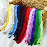 Random Color 20pcs Lot 30cm Zippers Lace Nylon Finish Zipper For Sewing Wedding Dress AA7006