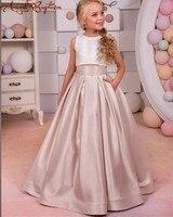 תחרה מדהימה שמפניה סאטן ארוך פרח שמלת ילדה שמלת פעוטות ראשית הקודש שמלות שושבין junior חתונה שתי חתיכות