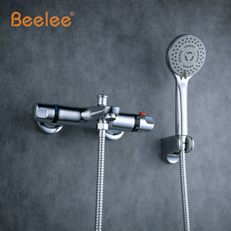 Beelee NEW Shower Faucet Set Bathroom Thermostatic Faucet Chrome ...
