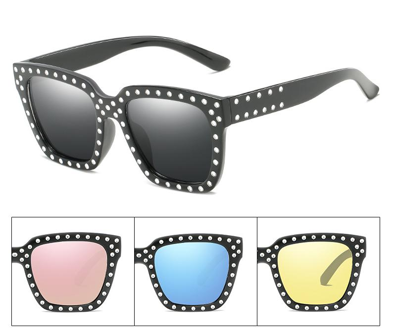 Trends Sun Glasses For Women Ladies Personalities Rivets Sunglasses Brand Designer  Cool Square Frames