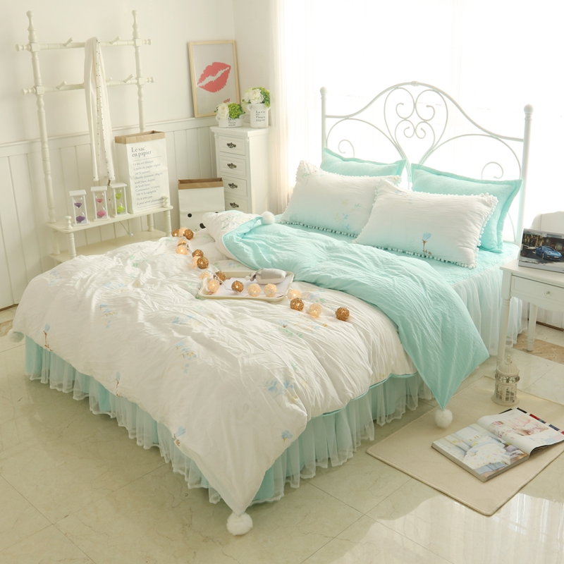 Cotton lace soft bedclothes twin full queen Bedding set for children adults duvet cover set bed skirt bed cover set pillowcase