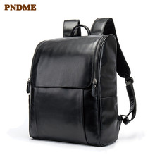 PNDME casual simple black genuine leather mens womens backpack fashion waterproof computer bookbags high quality bagpack
