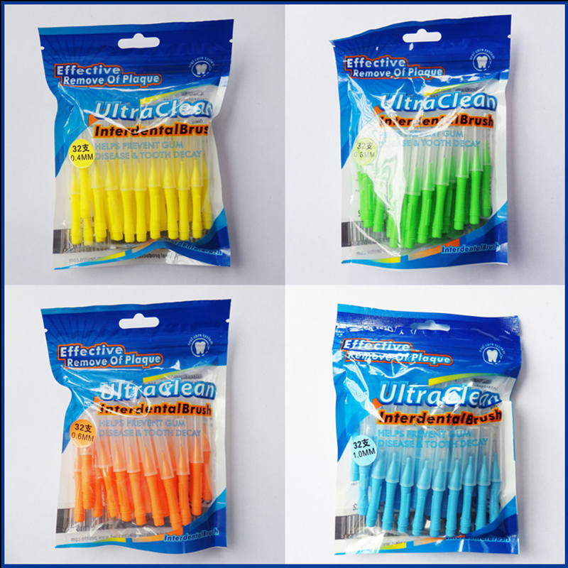 32 Pcs/pack Push-Pull Interdental Brush 0.6mm Gum Interdental Brush Orthodontic Wire Brush Toothbrush Oral Care Toothpick