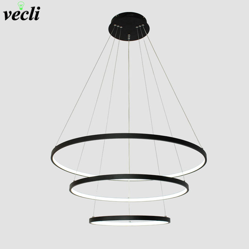 Fashional Dinning Room Bedroom Modern Chandeliers Black/White Color circle rings led pendant lamp for indoor lighting Fixtures fashional modern black