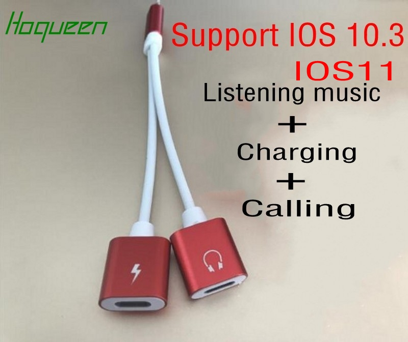 Hoqueen 2 In 1 Charger Audio Cable Calling Adapter Connector For IPhone 8 7 7 Plus Support IOS 10.3 /IOS11