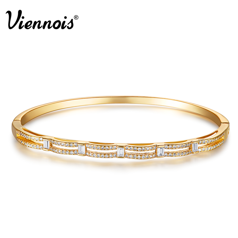 Viennois Bangles Bracelet Paved Copper Full-Zircon Silver/gold-Color New for Woman Female