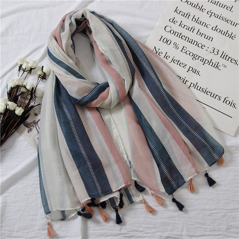 Women Luxury Brand Thin vertical stripes contrast color fashion with Korean literary style Shawl   Scarf     Wrap   Pashminas Sjaal