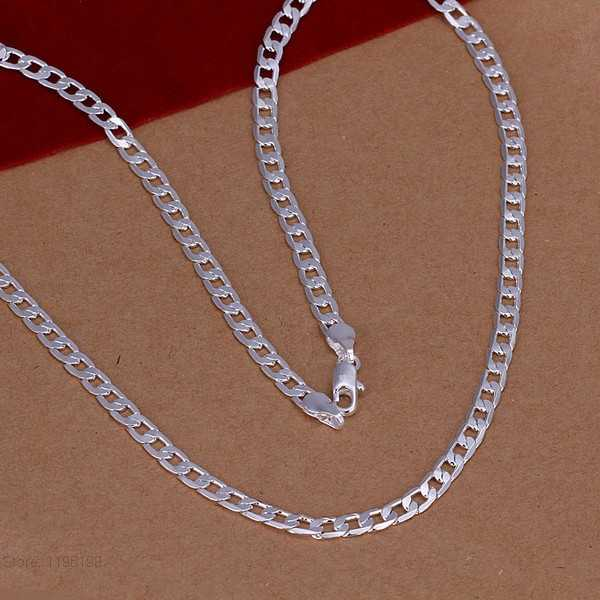 High-quality Men's Jewelry 925 solid silver color 4mm Sideways chains necklace choker for women male jewerly wholesale 16-30inch