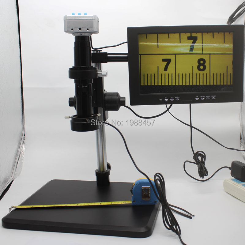 20 mill 1080P 60FPS HDMI <font><b>USB</b></font> Industrial <font><b>Microscope</b></font> Camera+<font><b>200X</b></font> C-mount Lens+Fine Adjustment Bracket+LED light+HD 10-inch Monitor image