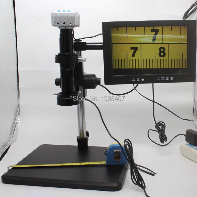Caméra Microscope industrielle 20 moulin 1080 P 60FPS HDMI USB + objectif 200X c-mount + support de réglage fin + lumière LED + moniteur HD 10 pouces