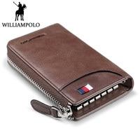WILLIAMPOLO Vintage Zipper Key Holder Genuine Leather Men Car Key Organizer With Keychain Porte Cle Fashion