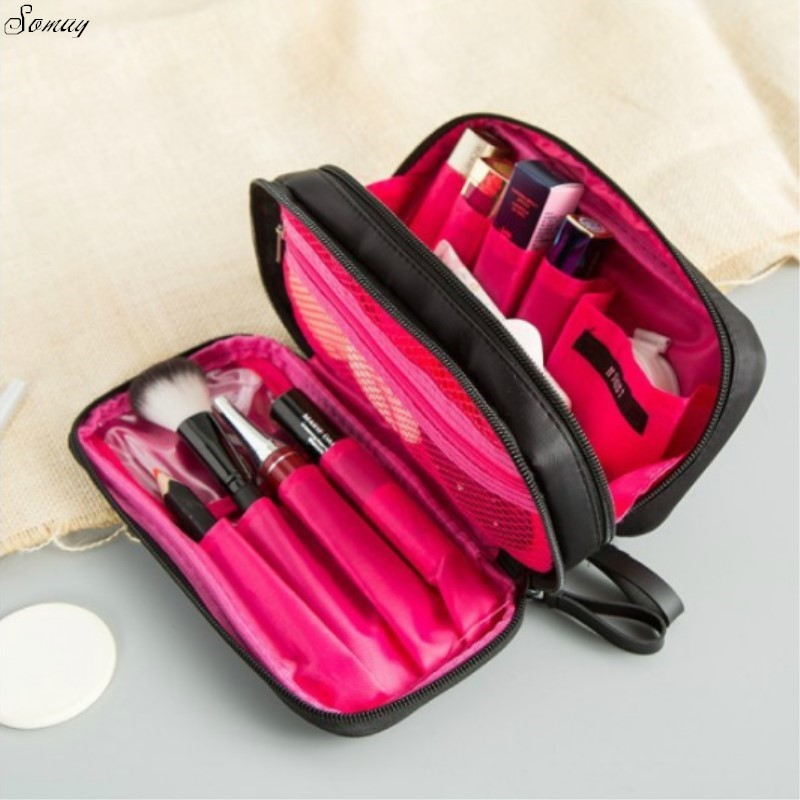 3ffb9853b012 Women Travel Nesesser Toiletry Bag Purse Small Makeup Bag Lady Storage  Brush Organizer Make Up Case Beauty Clutch Cosmetic Bags