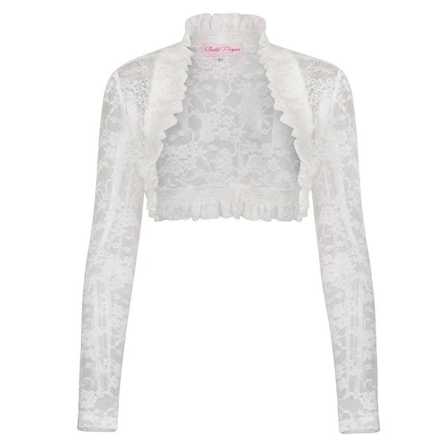 2018 Fashion Lace Bolero Womens Elegant Shrug Long Sleeve Sexy Black Wedding Evening Prom Cropped Shrugs Open Stitch Basic Coat 3