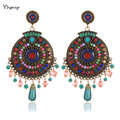 Yhpup Bohemian Indian Handmade Big Round Dangle Earrings Inlay Resin Beads Tibetan Vintage Summer Colorful Ethnic Party Earrings