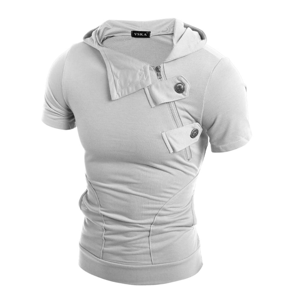 2018 New Mens Hipster Hip Hop Short Sleeve Slim Fit Hooded T Shirts Zipper Neck Button Deco Tshirts Tees Fashion Urban Clothing