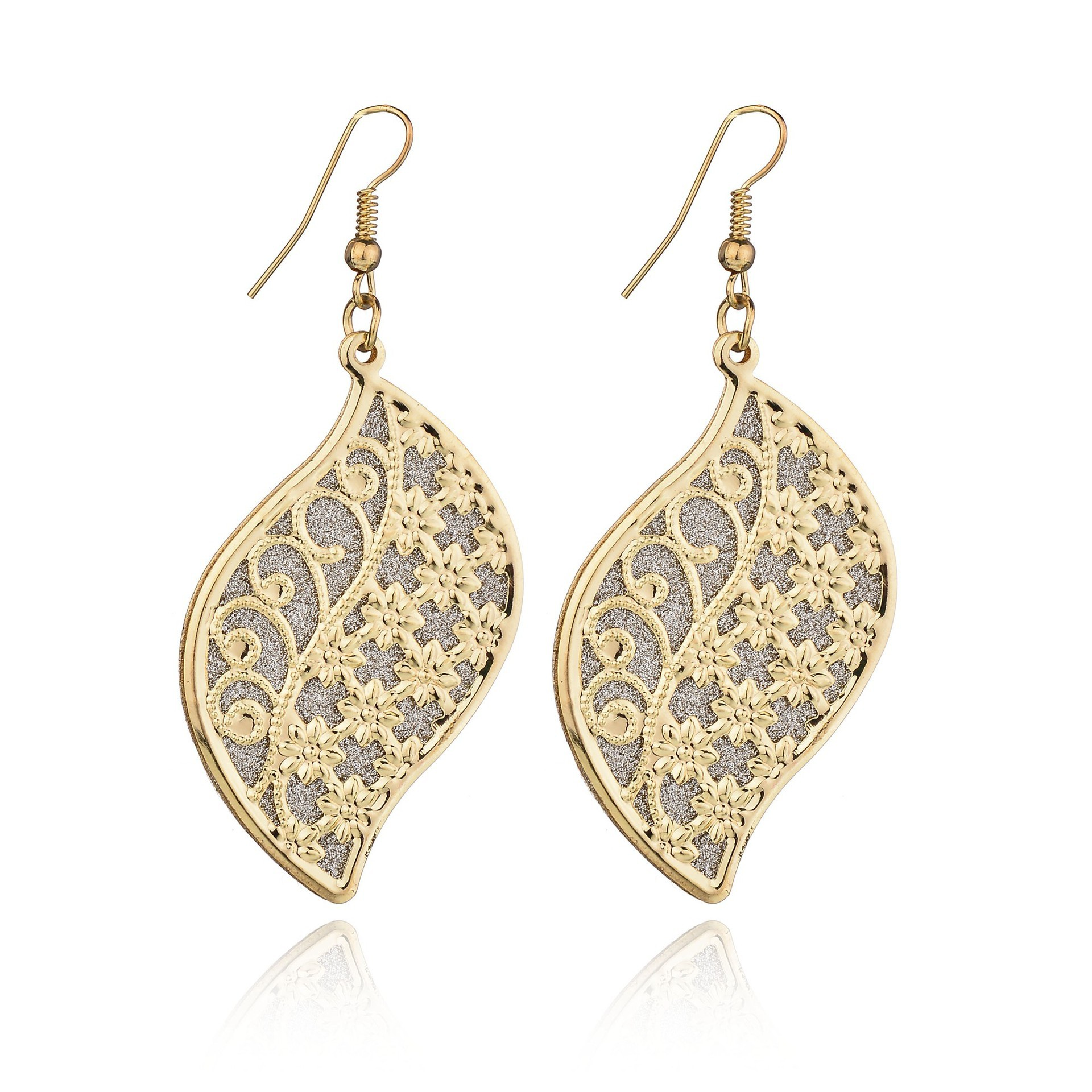 Boho Gold Silver Color Long Big Leaves Hollow Flower Dangle Earrings Pendant Clasps Drop Earring For Women Fashion Jewelry
