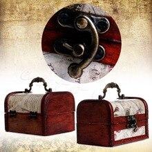 Nuevo 1 ud. Caja de madera Cofre del Tesoro de la joyería de la cerradura del Metal del sello del Vintage nuevo MAR16