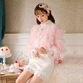 Принцесса сладкий лолита розовый пальто Конфеты дождь Плюшевые мех Тонкий короткий пальто роскошь Свет круглым воротом Сладкий Японский дизайн C16CD6164