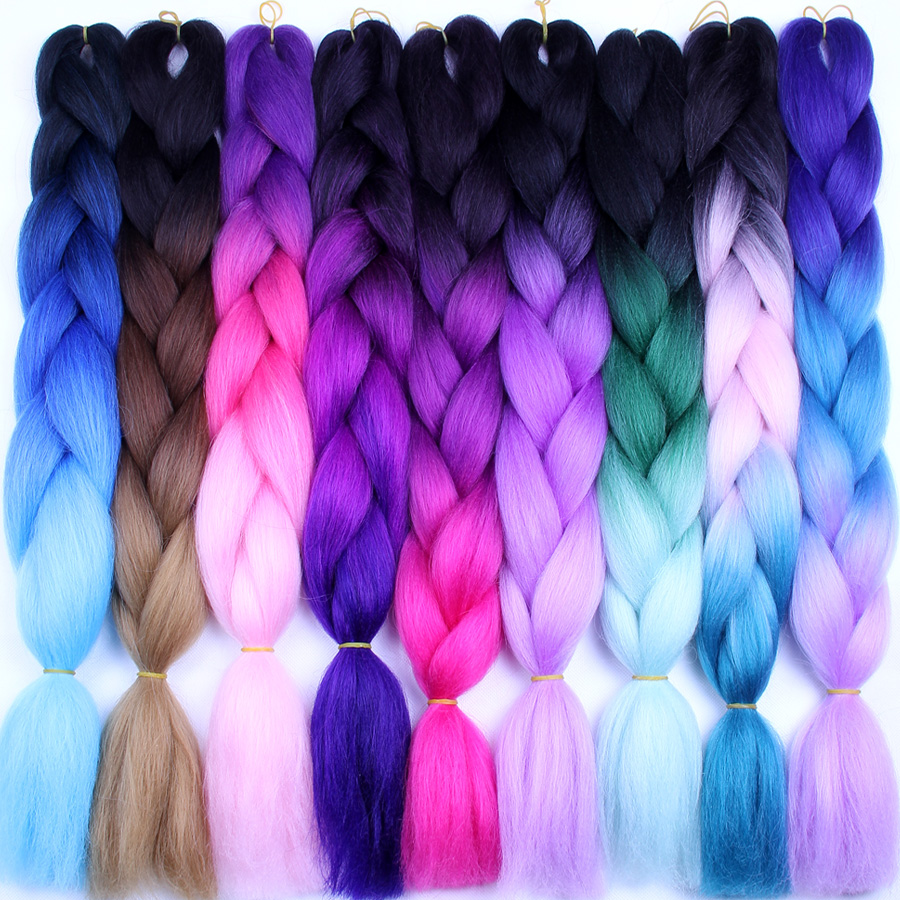 FALEMEI Three Tone Color Crochet Hair Extensions Kanekalon Hair Synthetic Crochet Braids Ombre Jumbo Braiding Hair Extensions(China)