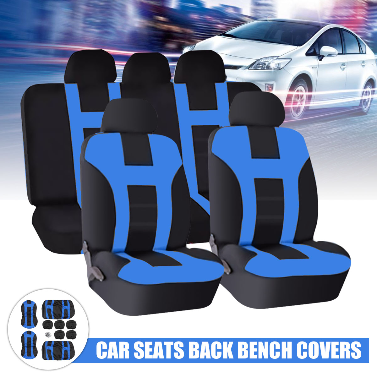 Four Seasons Universal Blue Black Car Seat Covers Front Rear Protectors 9 Piece Set Washable Automobiles Seat Cover