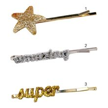 Minimalist Side Bangs One Word Hairpin Women Girls Glitter Powder Pentagram Star Letter Hair Clip Metallic Night Party Barrette