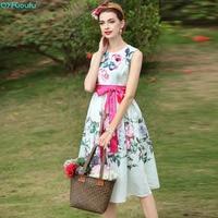QYFCIOUFU 2018 New Fashion Designer Runway Sleeveless Summer Dress Women S High Quality Belt Floral Print