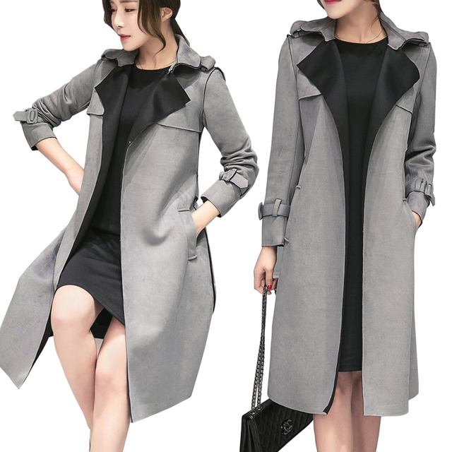 Camurça outono Moda Couro Hot Sale 90's Vintage Estilo Casual Trench Coat para As Mulheres Longo Fino Blusão Outerwear D0677