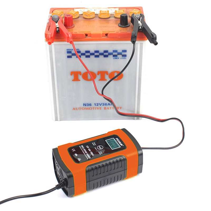 Cargador de batería Universal Foxsur 12V tipo de reparación 12Ah 36Ah 45Ah 60Ah 100Ah cargador de batería de reparación de pulso pantalla Lcd -- enchufe de EE. UU.