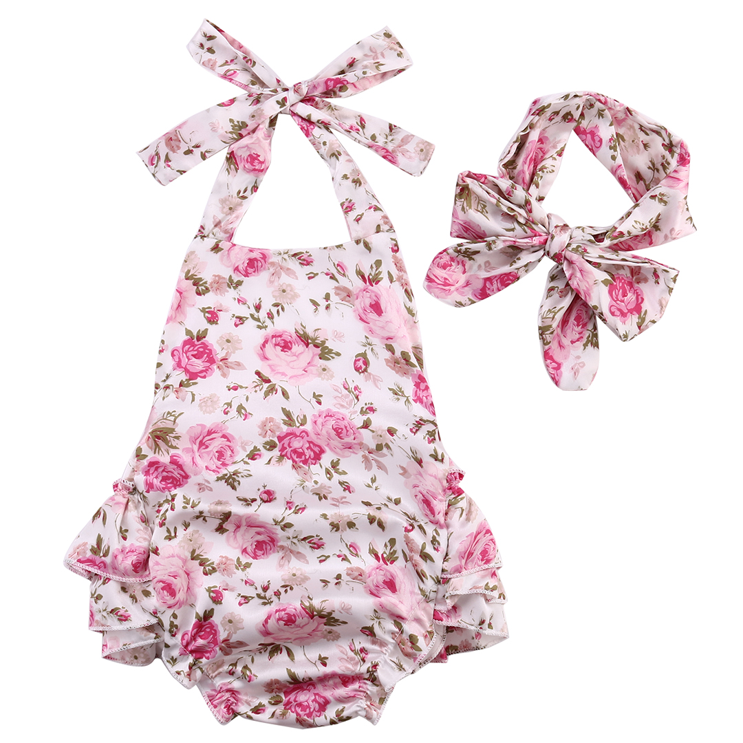 Baby Girls Romper Floral Ruffle Backless Belted Playsuit Jumpsuit Tutu Dress+Headband Outfit Set 0-18M