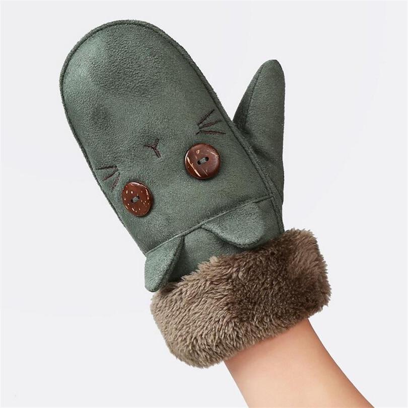 ChenKe 2017 Winter Warm Gloves Boys/Girls Children's Cartoon Cat Thick Fleece Mittens for Girl Boy Finger Halter Children