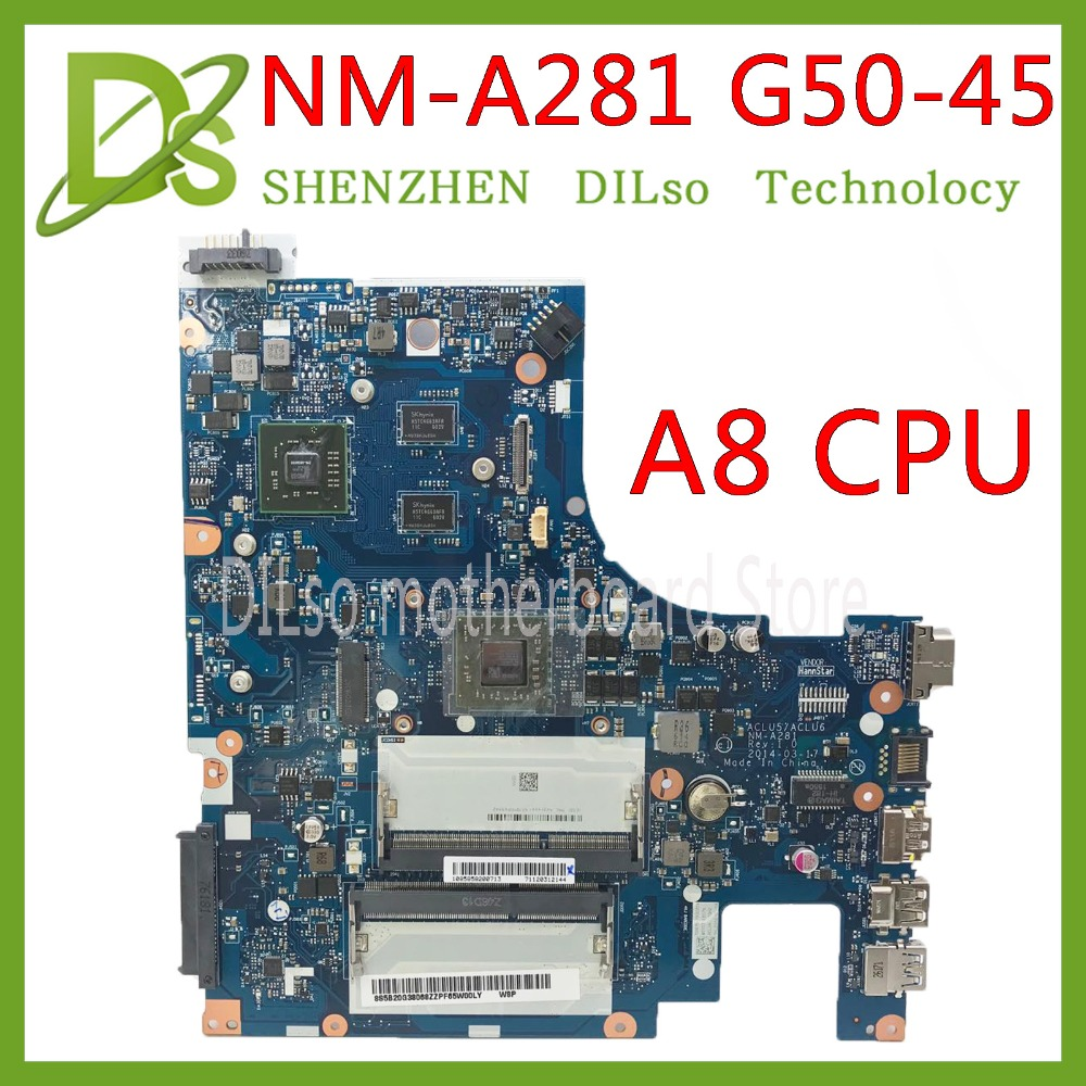 KEFU NM-A281 Mainboard For Lenovo G50-45 Laptop Motherboard ACLU5/ACLU6 NM-A281 With A8 CPU R5 GPU-2GB Test Work 100% Original