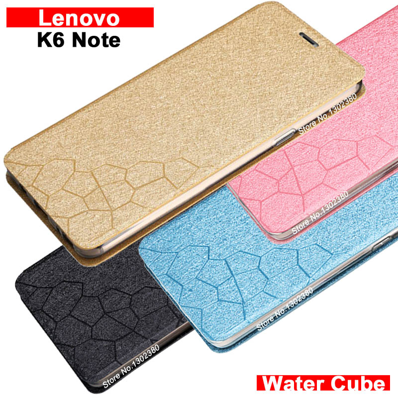 Lenovo k6 note case cover leather luxury water cube pu flip case for Lenovo k6 note cover 4 style Lenovo k 6 note k6note case