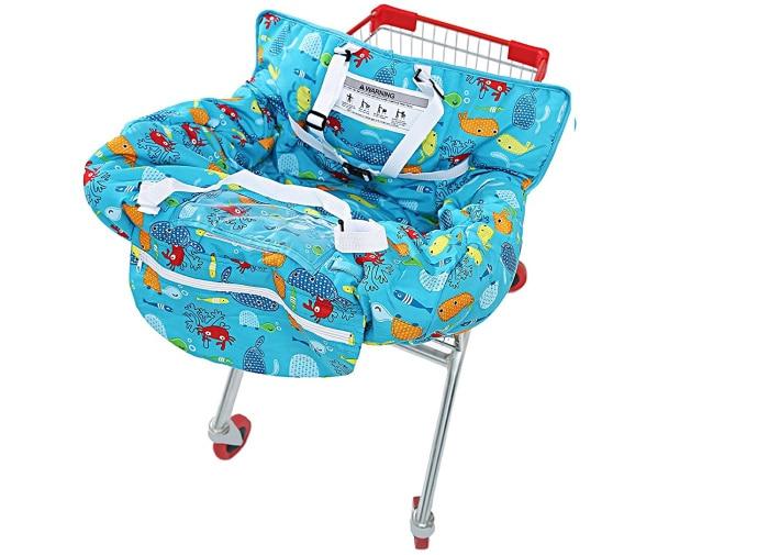 Многофункциональная Тележка для покупок 2 в 1, чехол на высокий стул для малышей и младенцев-Морская синяя рыба - Цвет: with cellphone cover