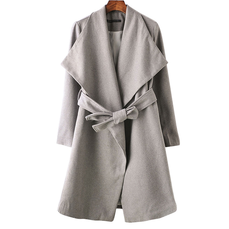 Mulheres longos casacos de lã mistura casual manga comprida grosso inverno quente outerwear casaco feminino magro tops CT1151