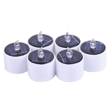 6Pcs/Set Solar Powered LED Candles Flameless Electronic LED Tea Lights Lamp Home Party Supplies WWO66