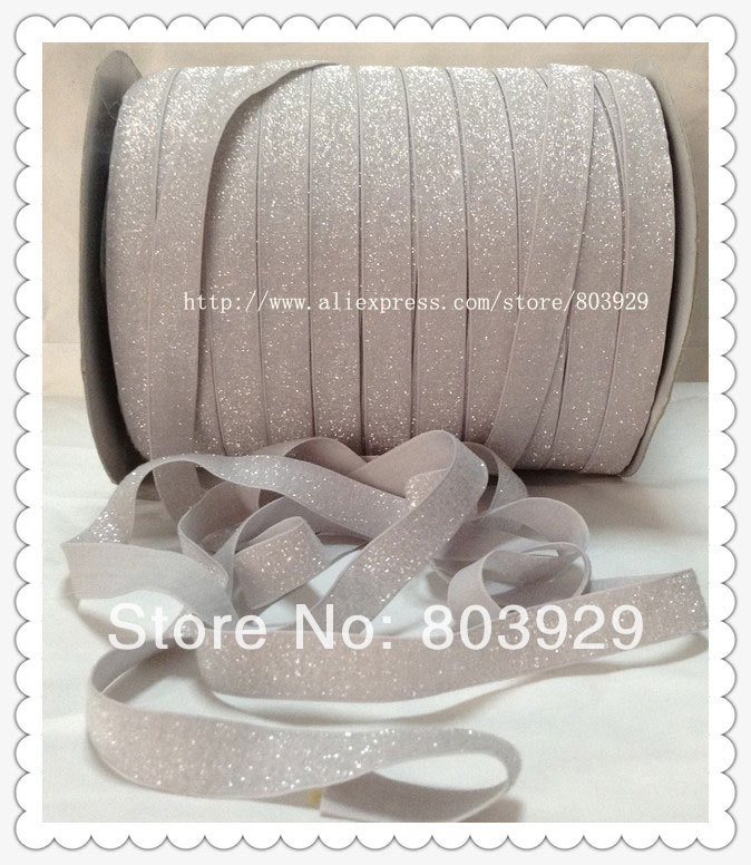 50yards lot Non stretch 1 5 Frosted Light Silver Metallic Ribbon