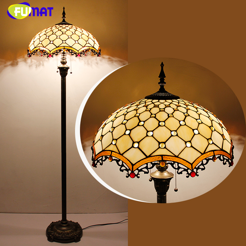 FUMAT Glass Art Floor Lamp Stained Glass Maple Leave Peacock Baroque Stand Lampe Living Room Hotel Bar Decor Light Fixtures