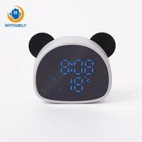 New Cartoon Panda Mirror Alarm Clock Student Child Snooze Recording Voice Control Led Digital Electronic Mirror Table Clock