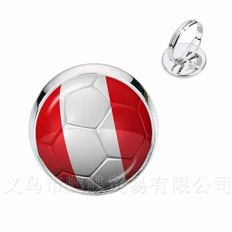 2018 جديد لكرة القدم خواتم كأس العالم العلم الوطني بلجيكا ، البرازيل ، المكسيك ، المغرب ، بيرو ، كرواتيا ، كوريا ، كوستاريكا ، تذكارات كرة القدم