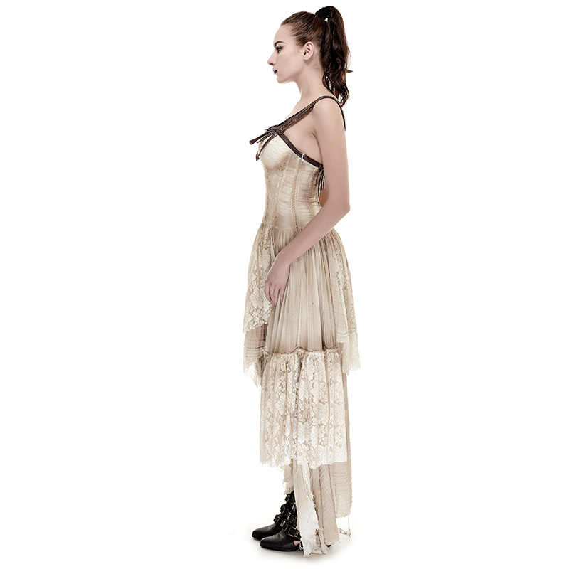 f34ac926f7e21 Asymmetric Hem Lace Matching Do Old Steampunk Dress Vintage Sexy Sleeveless  Party Long Dress-in Dresses from Women's Clothing on Aliexpress.com |  Alibaba ...